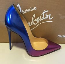 Christian Louboutin So Kate Purple/Blue Patent Leather 120MM Pump 36EU $775