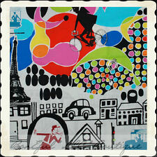 BonEful FABRIC FQ Cotton Quilt B&W Black Eiffel Tower Paris City Hippie Bus Bike