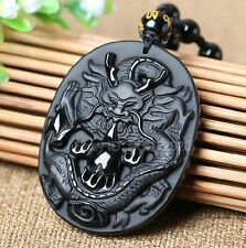 Natural Black Obsidian Hand Carved Dragon Lucky Amulet Pendant + Beads Necklace