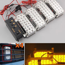 Amber 4x LED Storbe Recovery Grill Light Warning Flashing Lamp For Jeep Off Road