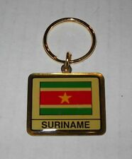 Wholesale Lot Of 10 Suriname Flag Metal Keychain, BRAND NEW