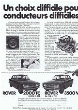 PUBLICITE ADVERTISING 104 1969 ROVER 2000TC ou 3500 V8 automobile