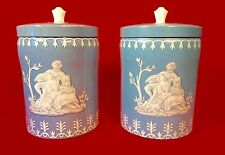 TWO Vintage Wedgewood Biscuit Tins for Elizabeth Shaw in the style of Jasperware