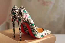 NEW CHRISTIAN LOUBOUTIN So Kate 120 Python Flower Multi Heels Pump Shoe 37,5