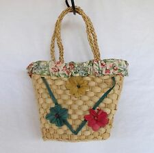 Little Girl's CUTE! Natural Straw Purse Floral Trimmed SUPER CONDITION