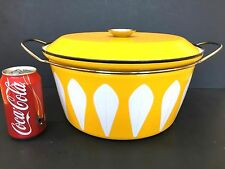 MID CENTURY CATHRINEHOLM CATHRINE HOLM YELLOW w WHITE LOTUS HUGE 9 QT STOCK POT