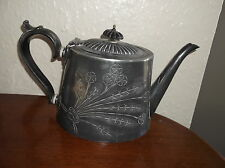 ANTIQUE SILVER PLATED VICTORIAN TEAPOT HENRY WILKINSON FLORAL BOUQUET EPBM