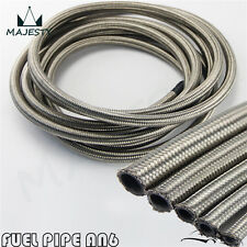 Stainless Steel Braided AN6 -AN6 Oil Fuel Line Hose 5 Meter 16FT AN-6 Silver