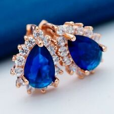 New Rose Gold Plated Pear Shape Sapphire Blue CZ w/Accents Mini Hoop Earrings