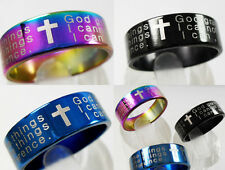 50pcs Serenity Prayer Stainless Steel Cross Ring Wholesale Fashion Jewelry Lots