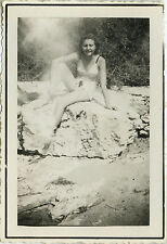 PHOTO ANCIENNE - VINTAGE SNAPSHOT - FEMME PIN UP SEXY MAILLOT BAIN - WOMAN 1943
