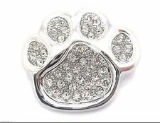 "Dog Puppy Paw Crystal Brooch Women Pin 1"" Groomer Silver Plated New"