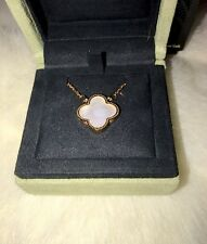 Alhambra style Clover Vintage Rose Gold Mother Of Pearl Onyx Reversible Pendant