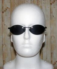 Vintage 90s deadstock Matrix style wrap sunglasses matt black metal frame (SG41)