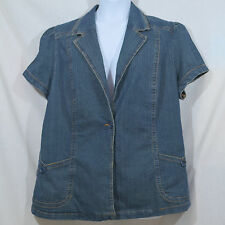 Women's Plus 3X Stretch Blue Jean 1 Button 2 Pocket Short Sleeve Blazer Shirt