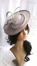 Pale silver Sinamay saucer style fascinator,..Wedding.races..headband