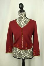 Betsey Johnson L Cardigan Sweater Red Embroidered Flowers Angora