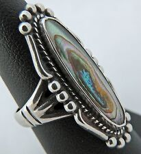 BEAUTIFUL LARGE ESTATE STERLING SILVER ABALONE BELL TRADING Co RING SIZE 6