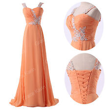 Long BEADED Evening Formal Party Ball Gown Prom Bridesmaid Wedding Grad Dresses