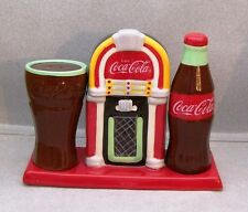 COKE COCA COLA SALT & PEPPER SHAKERS ON JUKEBOX TOOTHPICK HOLDER TRAY WG AA