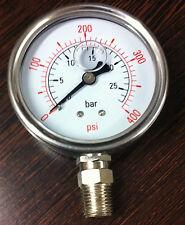 63mm 400 psi / 25 bar Glycerin Filled Pressure Gauge 1/4 BSP Connection