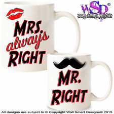 Coffee Mugs Tea Cups Novelty Wedding Gift Mr and Mrs Right