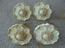 "Vintage ROSETTES FLOWER Curtain TIE-BACKS 4"" TWO PAIRS CREAM AND GOLD PLASTIC"