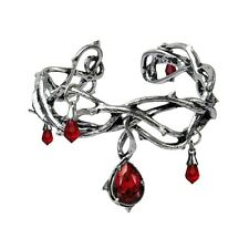 Official Alchemy Gothic Passion Pewter Red Swarovski Bangle - Love Bracelet New