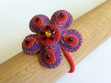 decorated felt flower hair band, purple and red, handmade