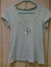 Lady's Armani Exchange T-Shirt - size Small - Military dog tags with AX logo!