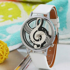 Women Fantastic Fabulous Music Note Notation Quartz Leather Steel Wrist Watch