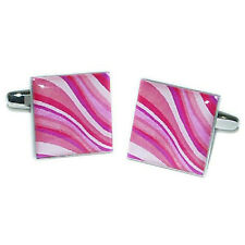 Pink Multicoloured Swirly Pattern Fashion Cufflinks X2BOCS070
