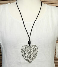 LAGENLOOK AMAZING QUIRKY BOHO LONG ART OPENWORK LEAF PENDANT NECKLACE*SILVER*