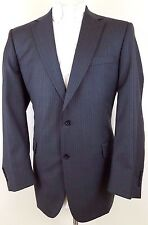 JOS a BANK Suit 44L Mens GRAY Pin STRIPE Wool TWO Button SIGNATURE Collection SZ