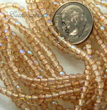Czech Glass 3mm Round Beads,Light Rose With Ab Finish 50 Pieces~Bohemian Glass