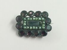 ANTIQUE GEORGIAN GARNET & SEED PEARL WOVEN HAIR MOURNING BROOCH PIN 1820