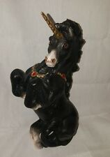 Windstone Editions Male Unicorn Original Matte Black 1989 Pena Red Rhinestones