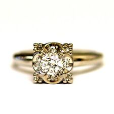 14k white gold .34ct SI1 I round diamond engagement ring 3.4g estate vintage