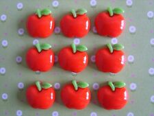 9 x Small Red Apple Flatback Resin,Embellishment Crafts Hair bow Decoden UK