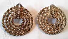 "Vintage Earrings Clip On Gold Tone Steampunk Chain Round 1.5"" Industrial Mod Art"
