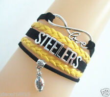 Lots of 5 Infinity Love STEELERS Football Charms Leather Sports Bracelet Popular