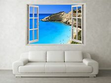 Beach Cove Scene 3D Full Colour Window Home Wall Art Stickers Mural Decal