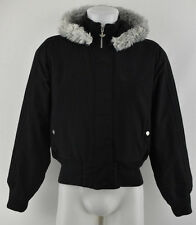 ADIDAS Women`s Padded Windproof Parka Jacket Black Hooded Coat Size 36