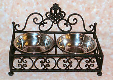 NEW~Black Wrought Iron Pet Food Water Dish Set Bowls Stand Double Feeder Dog Cat