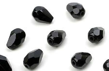 25 Jet Black Faceted Teardrop Czech Glass Beads 7MM