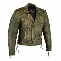 Men's Motorbike Leather Jacket Motorcycle Protection Armour CE Cracker Leather