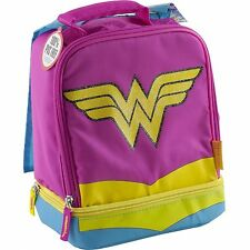 Wonder Woman Cape Lunch Box Tote Kit Bag Dual Compartment Insulated