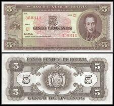 Bolivia 5 BOLIVIANOS L.1945 wo sign. P 138d UNC