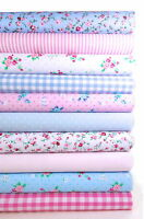FABRIC BUNDLE PINK AND BLUE 10 FAT QUARTERS POLYCOTTON CRAFT FLORAL GINGHAM 21""