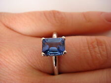 !AMAZING 1.85 CARAT TANZANITE EMERALD CUT SOLITAIRE PLAIN CLASSIC SETTING RING